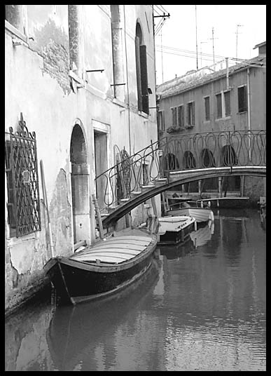 Boats lining the small canals of