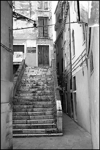 Steps in a hidden alley, Venice